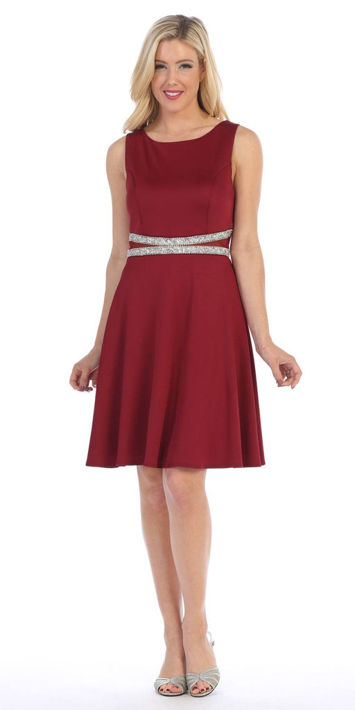 Celavie 6293 Rhinestones Waist Knee-Length Cocktail Dress Sleeveless Burgundy