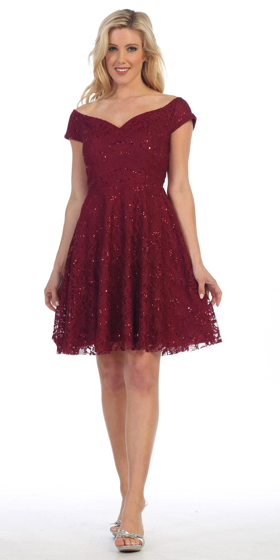 Celavie 6296 Off Shoulder Short Sleeves Lace Cocktail Dress Burgundy ...