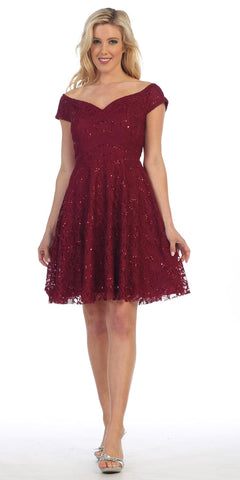 Celavie 6296 Off Shoulder Short Sleeves Lace Cocktail Dress Burgundy
