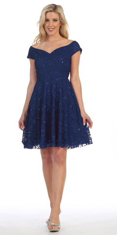 Celavie 6296 Off Shoulder Short Sleeves Lace Cocktail Dress Navy