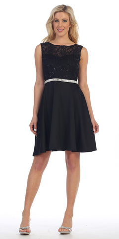 Celavie 6299 Black Sleeveless Homecoming Dress V-Shape Back