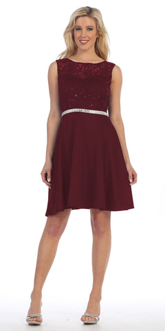 Celavie 6299 Burgundy Sleeveless Homecoming Dress V-Shape Back