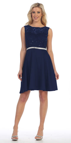 Celavie 6299 Navy Sleeveless Homecoming Dress V-Shape Back
