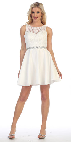 Celavie 6299 Off White Sleeveless Homecoming Dress V-Shape Back
