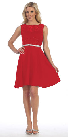 Celavie 6299 Red Sleeveless Homecoming Dress V-Shape Open Back