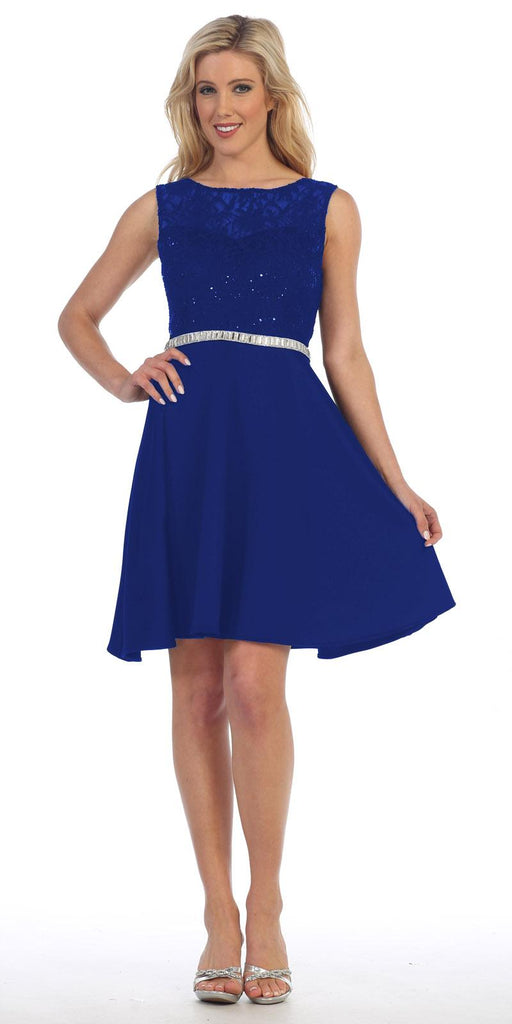 Celavie 6299 Royal Blue Sleeveless Homecoming Dress V-Shape Open Back