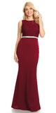 Burgundy Bateau Neck Long Formal Dress Sleeveless