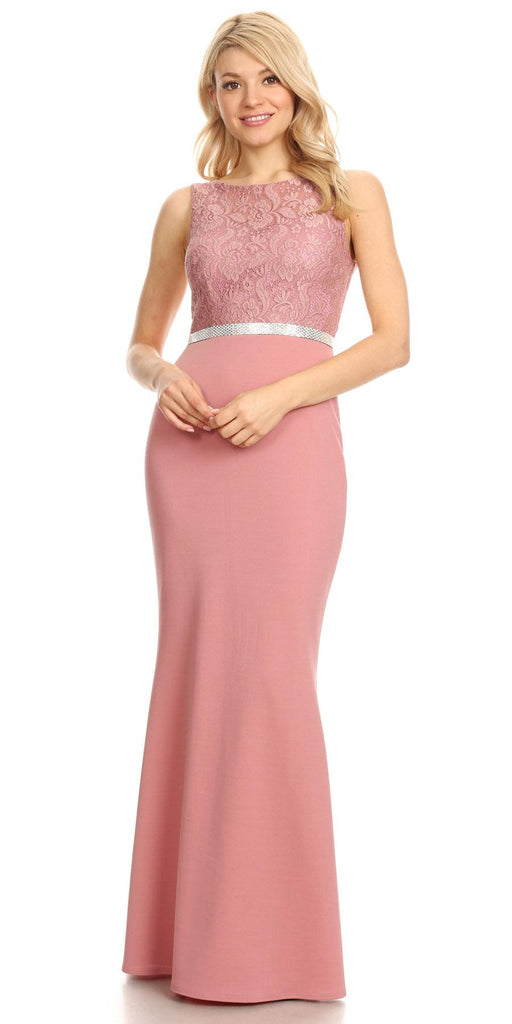 Mauve Bateau Neck Long Formal Dress Sleeveless