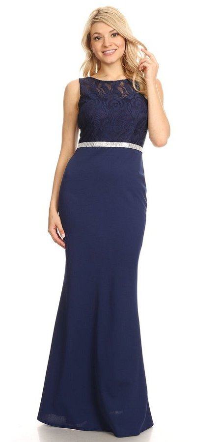 Navy Blue Bateau Neck Long Formal Dress Sleeveless