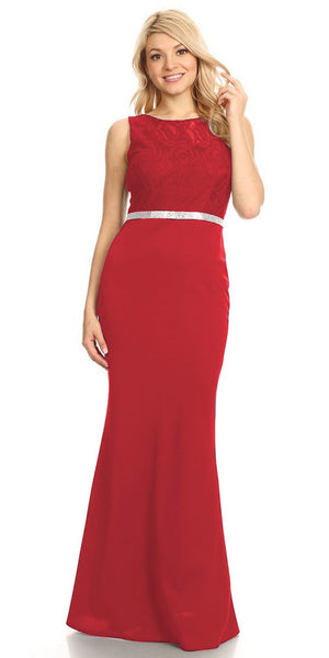 Red Bateau Neck Long Formal Dress Sleeveless