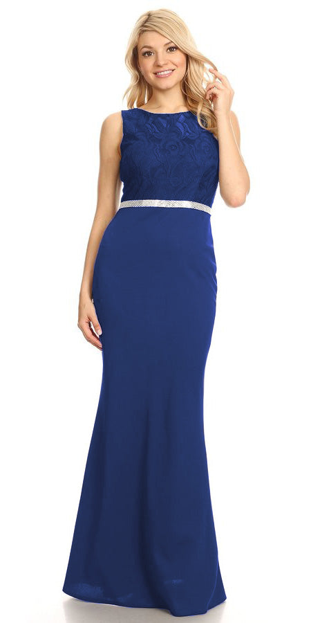 Royal Blue Bateau Neck Long Formal Dress Sleeveless