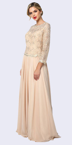 Embellished Waist Lace Long Prom Dress Champagne