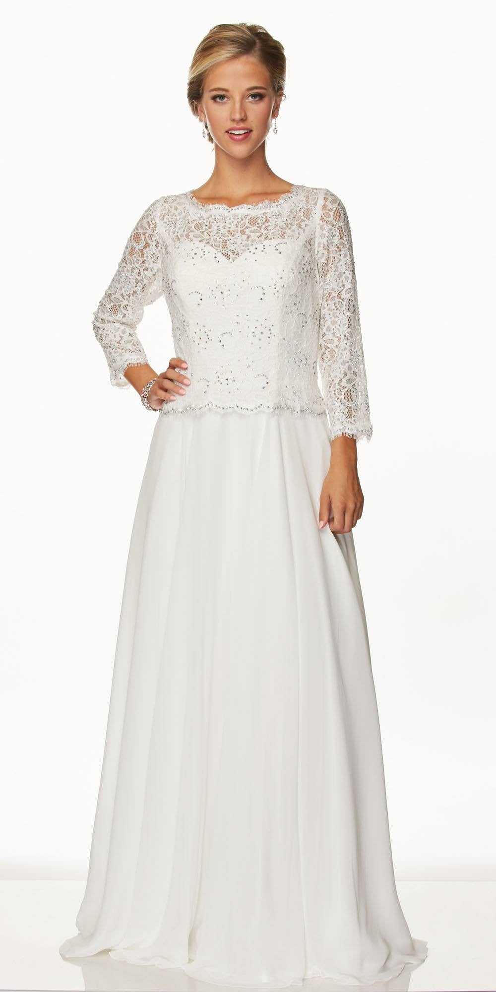 Juliet 630 Silver Lace Top Chiffon Skirt Mother of Bride or Groom ...