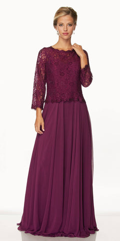 Juliet 630 Plum Lace Top Chiffon Skirt Mother of Bride or Groom Dress