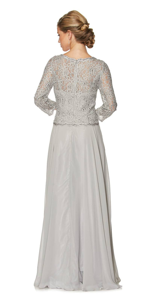 Juliet 630 Silver Lace Top Chiffon Skirt Mother of Bride or Groom Dress