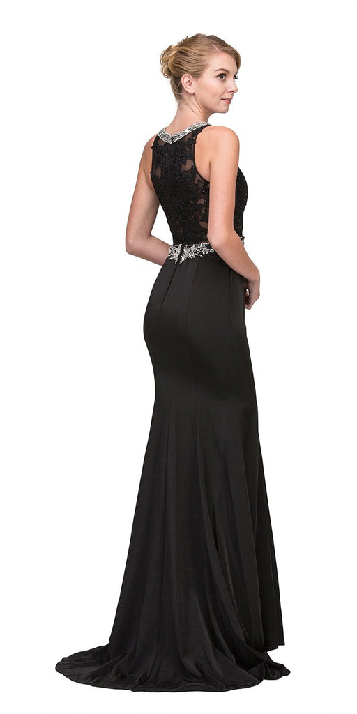 Black Appliqued Mermaid Long Prom Dress Sleeveless