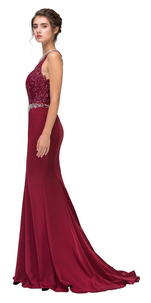 Burgundy Appliqued Mermaid Long Prom Dress Sleeveless
