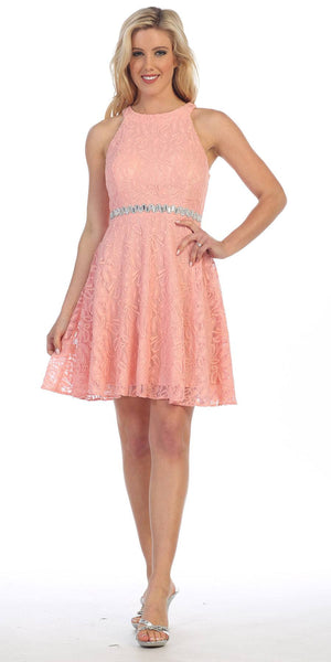 Celavie 6301 Lace Round Neck Short Homecoming Halter Dress Blush