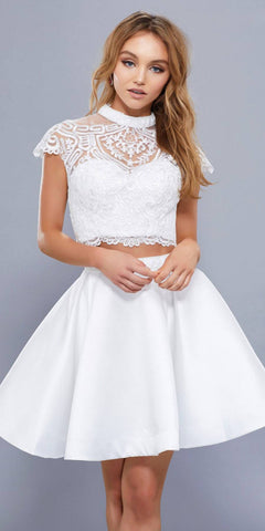 White Short Sleeves Crop Top Two-Piece High Neck Homecoming Dress