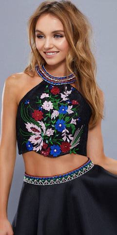 Black Embroidered Crop Top Halter Two-Piece Short Prom Dress