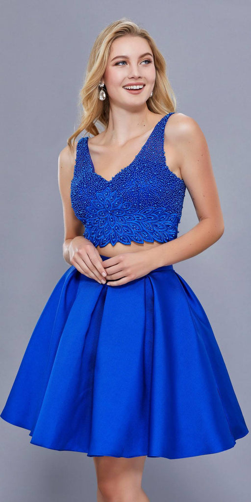 V-Neck Beaded Top Two-Piece Short Prom Dress Pleated Skirt Royal