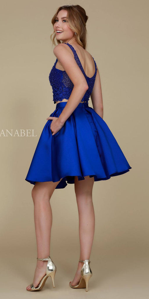 Nox Anabel 6303 V-Neck Beaded Top Two-Piece Short A-Line Royal Blue Dress