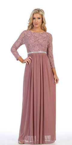 Celavie 6305L Mauve Quarter Sleeve Long Formal Dress A-line