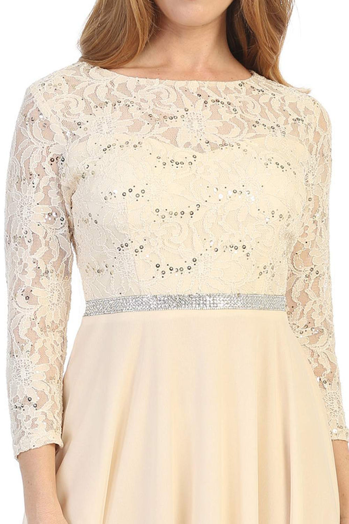 Celavie 6305 Champagne Quarter Sleeves Lace Knee-Length Wedding Guest Dress