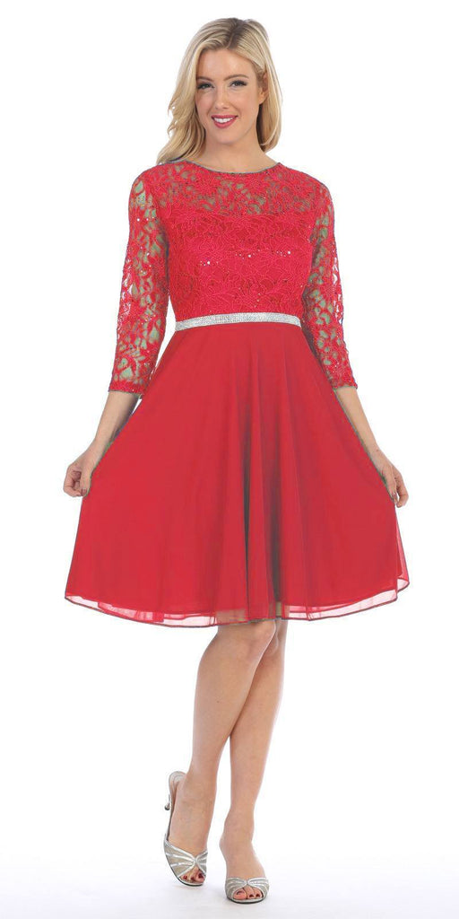 Celavie 6305 Red Quarter Sleeves Lace Knee-Length Wedding Guest Dress