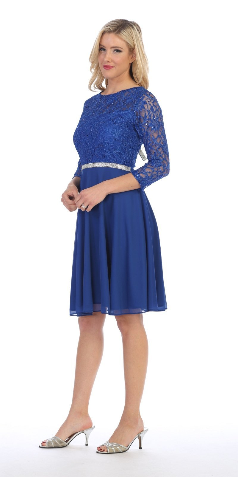 Celavie 6305 Silver Quarter Sleeves Lace Knee-Length Wedding Guest ...