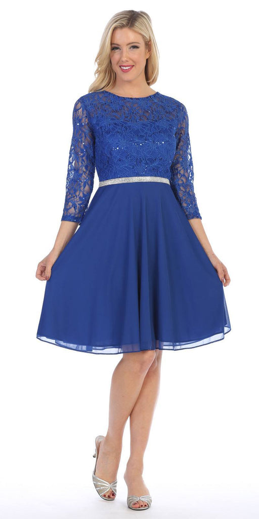 Celavie 6305 Royal Blue Quarter Sleeves Lace Knee-Length Wedding Guest Dress