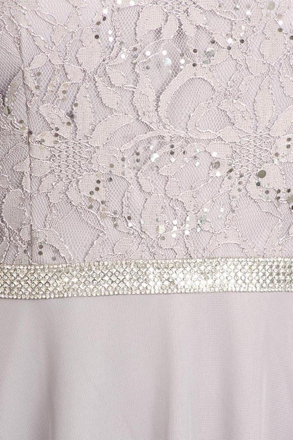 Silver Quarter Sleeves Lace Knee-Length Wedding Guest Dress