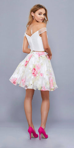 Floral Print Skirt Off Shoulder Crop Top Two-Piece Homecoming Dress