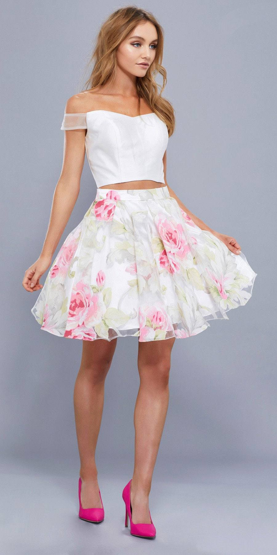 3685f5a700030 Floral Print Skirt Off Shoulder Crop Top Two-Piece Homecoming Dress ...