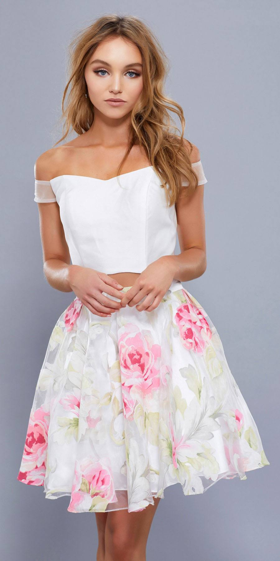 597b8a08633 Floral Print Skirt Off Shoulder Crop Top Two-Piece Homecoming Dress. Tap to  expand