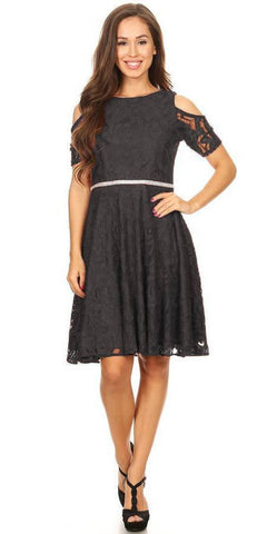 Celavie 6307 Black Lace A-Line Wedding Guest Dress Cold Shoulder Short Sleeves