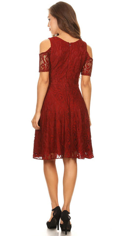 Burgundy Lace A-Line Wedding Guest Dress Cold Shoulder Short Sleeves
