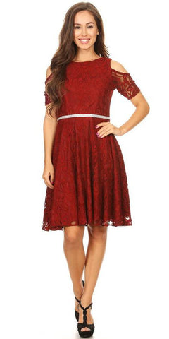 Celavie 6307 Burgundy Lace A-Line Wedding Guest Dress Cold Shoulder Short Sleeves