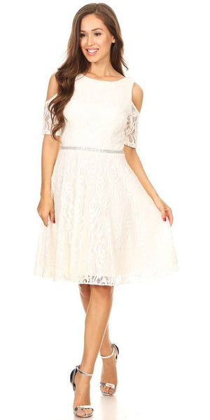 e4ea0474993 Celavie 6307 Ivory Lace A-Line Wedding Guest Dress Cold Shoulder Short  Sleeves – DiscountDressShop