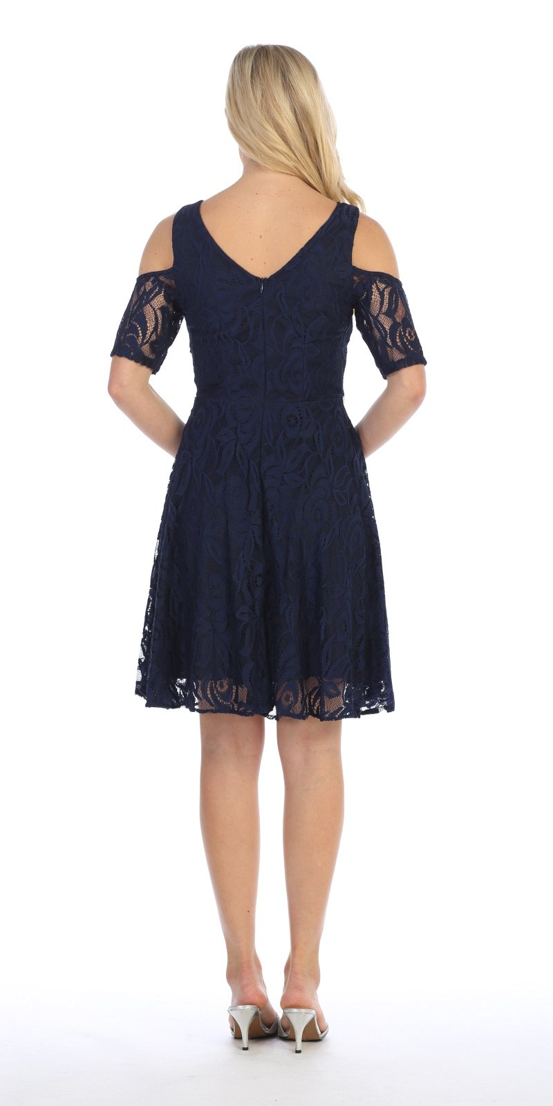 8d8533be926 ... Celavie 6307 Navy Blue Lace A-Line Wedding Guest Dress Cold Shoulder  Short Sleeves Back ...