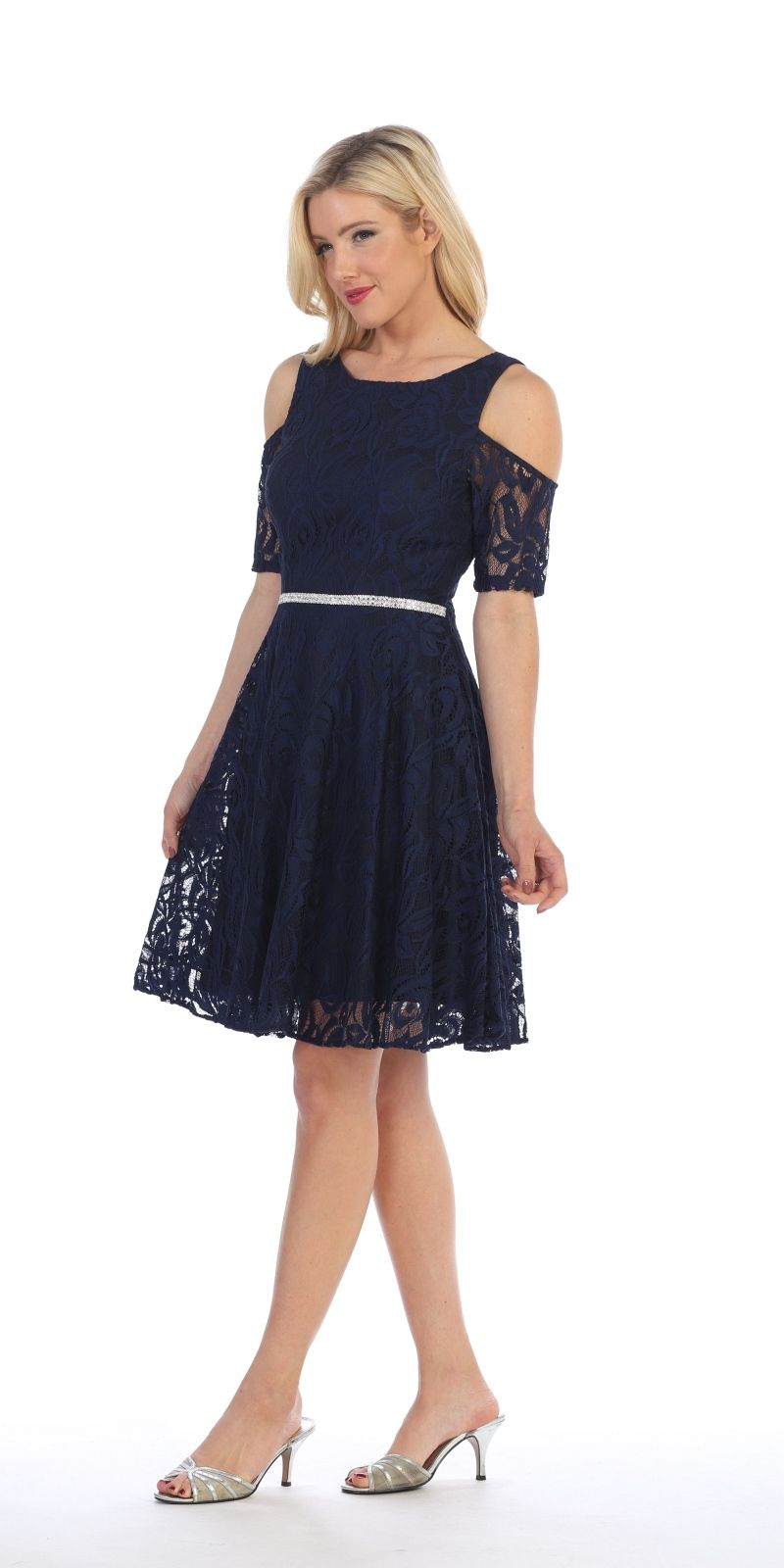 45e42946b4c ... Back Celavie 6307 Navy Blue Lace A-Line Wedding Guest Dress Cold  Shoulder Short Sleeves Side ...