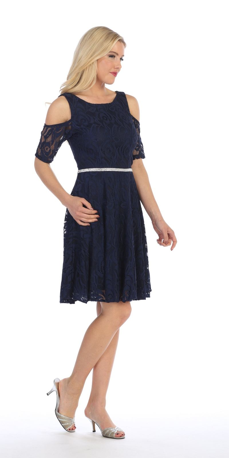eb8edc31075 ... Celavie 6307 Navy Blue Lace A-Line Wedding Guest Dress Cold Shoulder  Short Sleeves Side ...