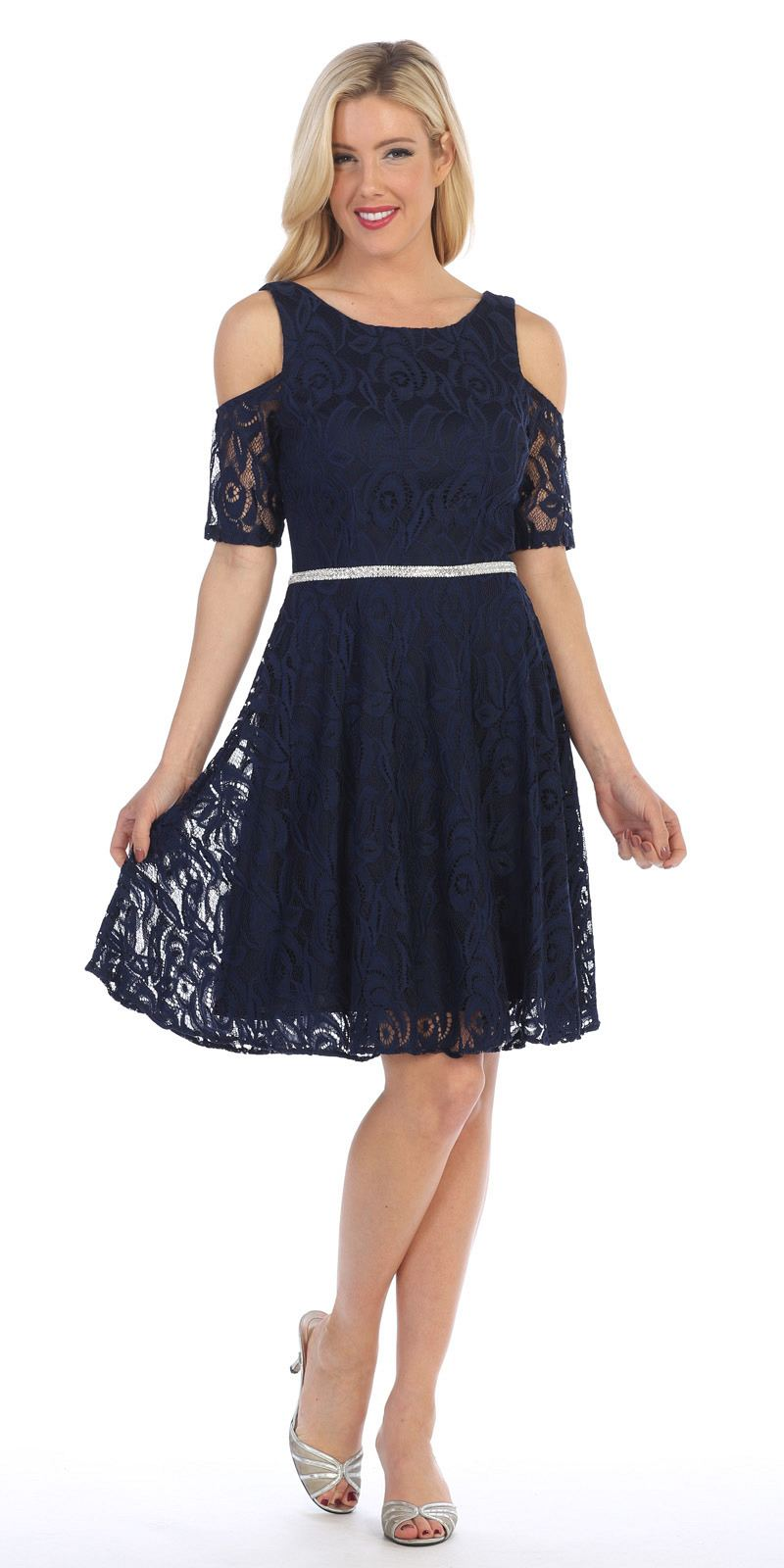 Navy Lace A Line Wedding Guest Dress Cold Shoulder Short Sleeves
