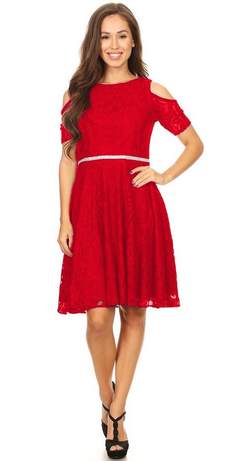 Red Lace A Line Wedding Guest Dress Cold Shoulder Short Sleeves