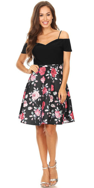 Black Floral-Print Skirt Homecoming Dress Cold Shoulder Short Sleeves