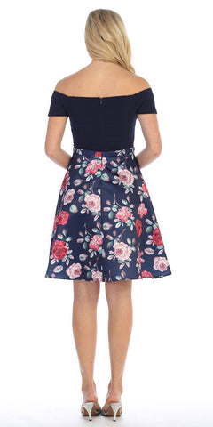 Off-the-Shoulder Homecoming Short Dress Print Skirt Navy Blue