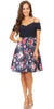 Navy Floral-Print Skirt Homecoming Dress Cold Shoulder Short Sleeves