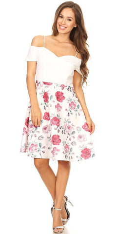 Ivory Floral-Print Skirt Homecoming Dress Cold Shoulder Short Sleeves