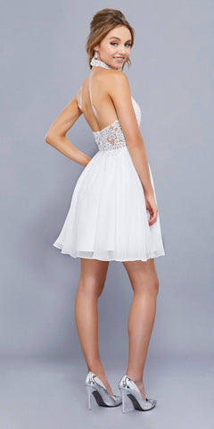 White Appliqued Halter Top Short Cocktail Dress Open Back