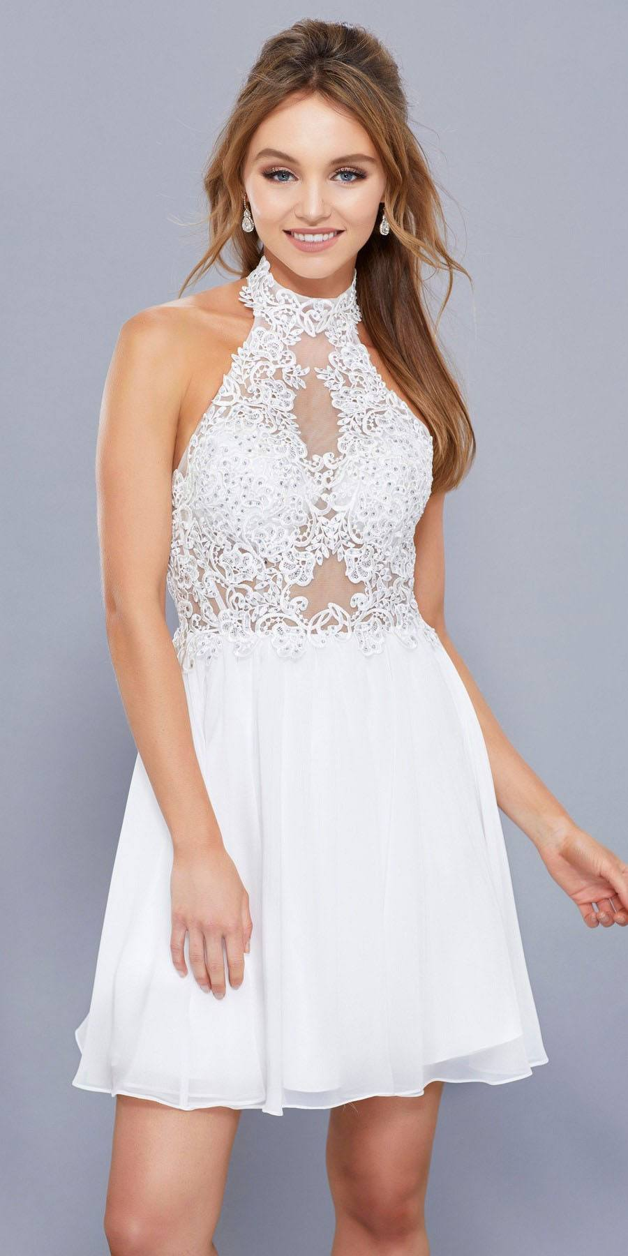 5aea42bb7f0 White Appliqued Halter Top Short Cocktail Dress Open Back. Tap to expand